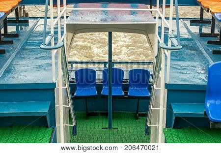 A view of the river waves on the water from the stern of a pleasure yacht.