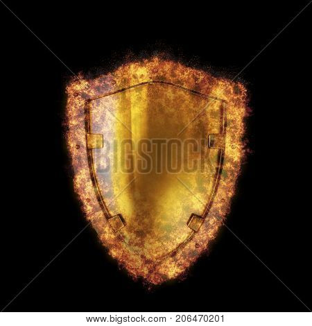 Burning metal shield, burst into flames, isolated against the Black background. 3D rendered