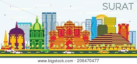 Surat Skyline with Color Buildings and Blue Sky. Business Travel and Tourism Concept with Historic Buildings.