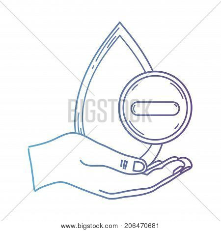 line hand with blood drop to medical donation symbol vector illustration