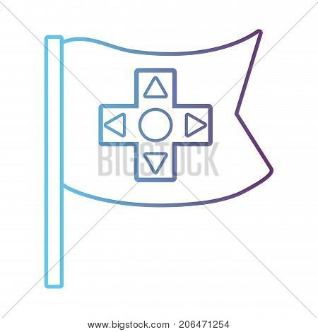 line flag with buttons controller technology vector illustration