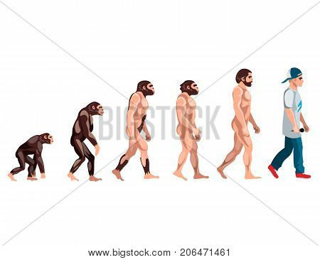 Evolution from monkey to rapper. Vector illustration