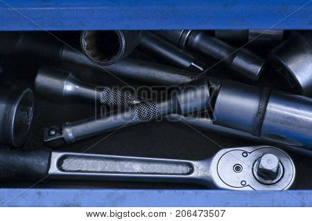 Steel Auto tools. Spanners of different diameters
