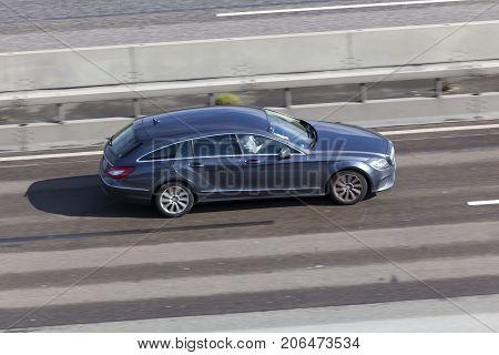 Frankfurt Germany - Sep 19 2017: Mercedes Benz CLS Shooting Break driving on the highway in Germany