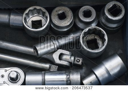 A Set Of Tools For Car Repair. Installation And Dismantling Of Threaded Connections
