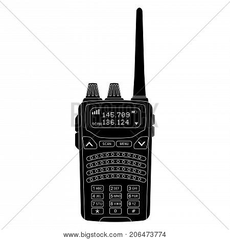 Radio transceiver with screen and antenna. Black flat icon. Vector illustration isolated on white background