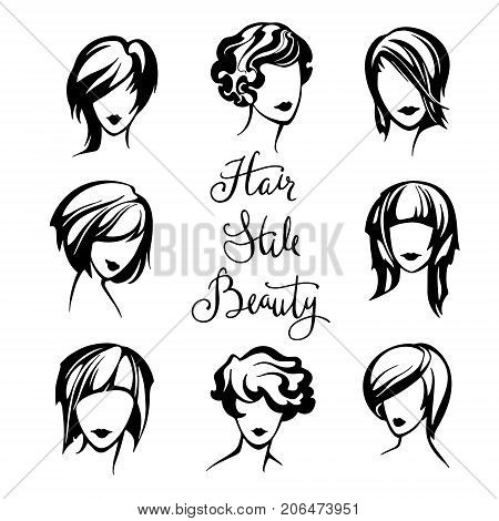 vector set of stylized logo with women's hairstyles, stylish collection of fashionable hairstyles for short hair for beauty