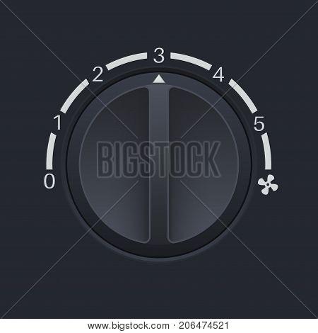 Car dashboard black switch. Fan speed selector. Vector 3d illustration