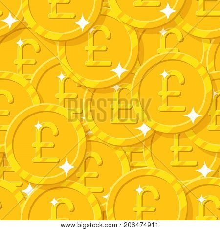 Placer gold pounds style seamless pattern. Background of gold pounds as a pattern for designers and illustrators. Cover of gold pieces in the form of vector illustration