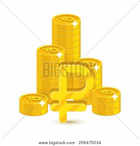 Bunch gold rubles isolated cartoon. Bunches of gold rubles and ruble signs for designers and illustrators. Gold stacks of pieces in the form of a vector illustration