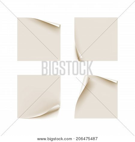 Stickers bent edges realistic isolated set. Several white stickers in a realistic style with bent edges for designers and illustrators. Set of labels as a vector illustration
