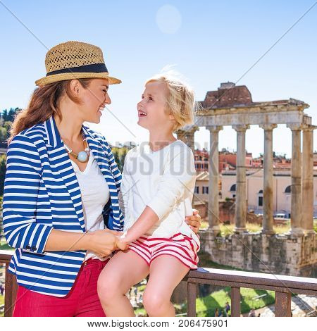 Happy Mother And Child Tourists Lin Rome Looking At Each Other