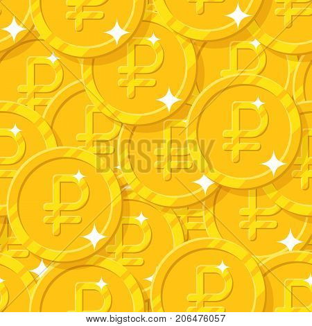 Placer gold rubles style seamless pattern. Background of gold rubles as a pattern for designers and illustrators. Cover of gold pieces in the form of vector illustration