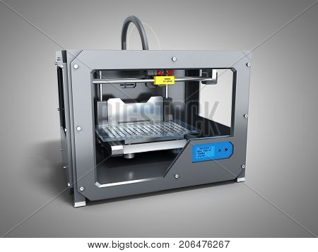 Creative Abstract New Technologies Concept Modern Professional Plastic 3D Printer 3D Render On Grey