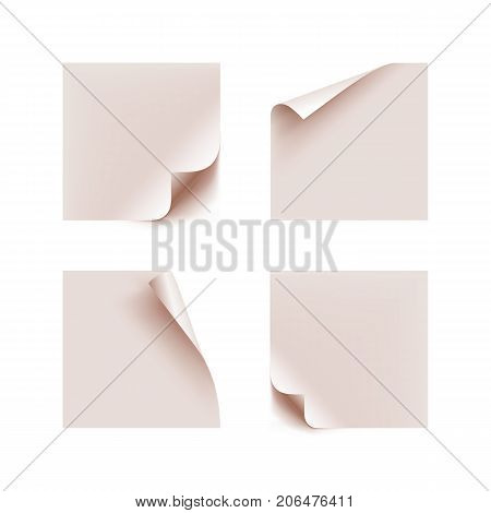 White stick note isolated on white background. Stickers bent edges realistic isolated set. Several white stickers in a realistic style with bent edges. Set of labels as a vector illustration