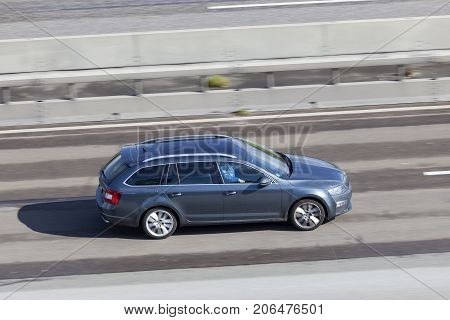 Frankfurt Germany - Sep 19 2017: Third generation (Typ 5E) Skoda Octavia Estate driving on the highway in Germany