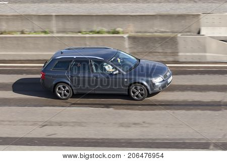 Frankfurt Germany - Sep 19 2017: Audi A4 Avant B6 from ca. 2006 driving on the highway in Germany