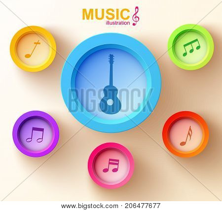 Music design concept with colorful round buttons guitar and musical notes on light background vector illustration