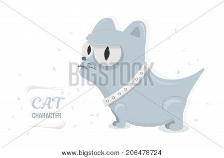 Cat angry stare big eyes. Cartoon character for animation or print. Trendy style for graphic design, Web site, social media, user interface.