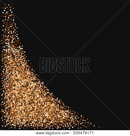 Red Round Gold Glitter. Bottom Left Corner With Red Round Gold Glitter On Black Background. Pretty V