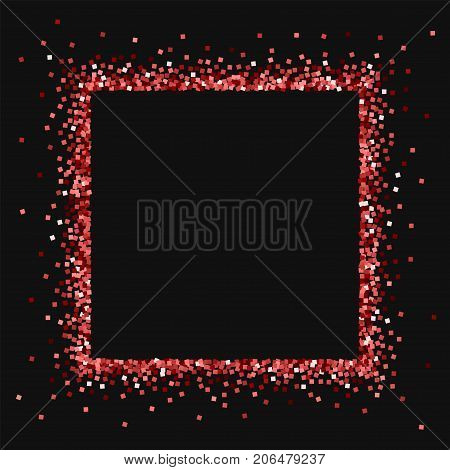 Red Gold Glitter. Square Abstract Border With Red Gold Glitter On Black Background. Appealing Vector