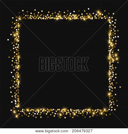 Sparkling Gold. Square Abstract Shape With Sparkling Gold On Black Background. Wonderful Vector Illu