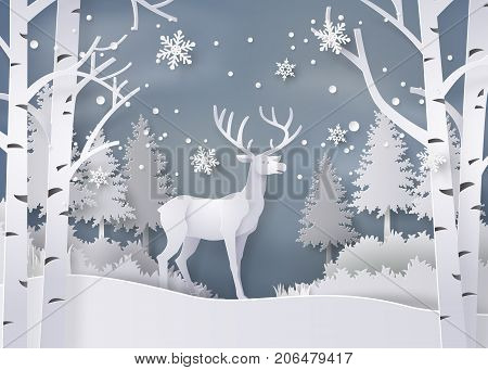 Illustration of winter season and Christmas day Deer in forest with snow.vector paper art style.
