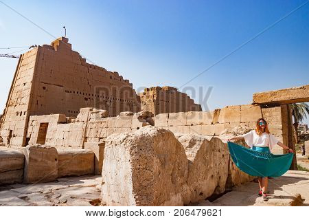 Exploring the ancient ruins in luxor, Egypt