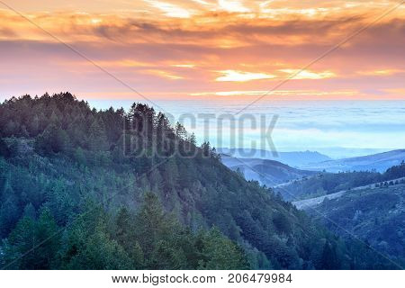 Fire and Ice. Vibrant Skies Above Foggy Pacific Ocean in Santa Cruz Mountains. Purisima Creek Redwoods, Woodside, San Mateo County, California, USA.