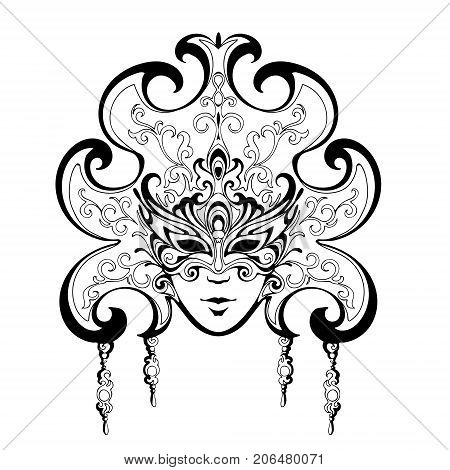 vector image of a woman's face with flowers, Venice Carnival masks, Mardi Gras