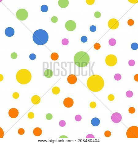 Colorful Polka Dots Seamless Pattern On White 2 Background. Beauteous Classic Colorful Polka Dots Te
