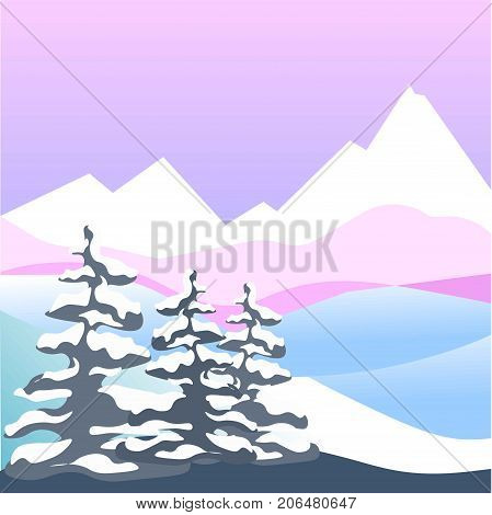 Winter snow landscape of four seasons nature scenery. Vector flat design of snowing cold weather in mountains and forest trees in frost on day background