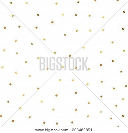 Golden Dots Seamless Pattern On White Background. Beautiful Gradient Golden Dots Endless Random Scat