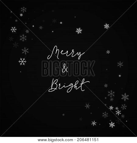 Merry & Bright Greeting Card. Sparse Snowfall Background. Sparse Snowfall On Red Background.good-loo