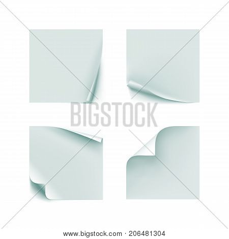 Post note paper sheets or sticky stickers. Set of realistick post office memo. Set of stickers vector illustration