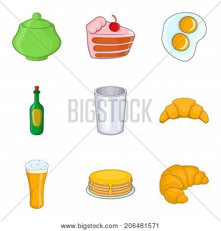 Knife and fork icons set. Cartoon set of 9 knife and fork vector icons for web isolated on white background