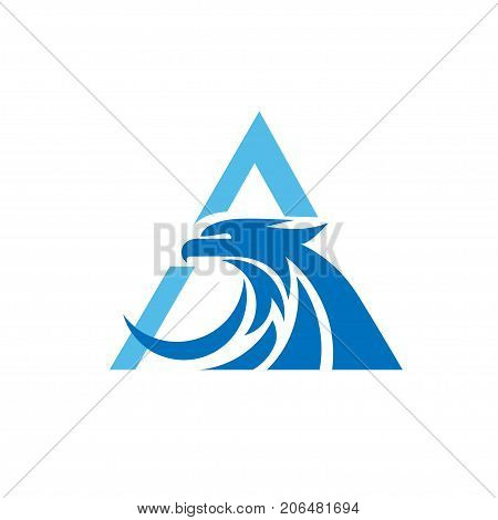 letter A with eagle consulting element, eagle with triangle logo concept