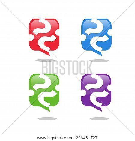 Question mark icon, speech bubble symbol, FAQ sign logo, vector