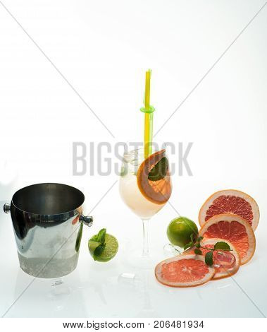 Cocktail Isolated On White Background With Ice Bucket.