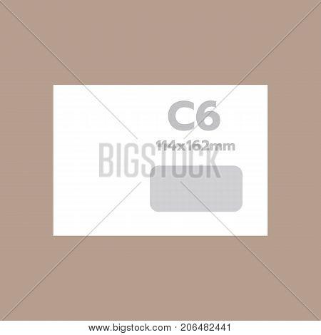 C6 envelope mockup. Realistic illustration of c6 envelope vector mockup for web design