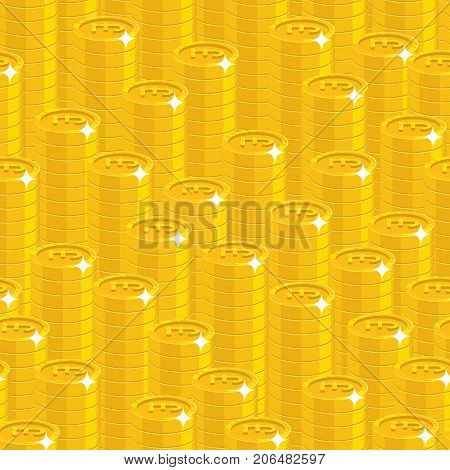 Piles gold pounds style seamless pattern. Background of piles gold pounds as a pattern for designers and illustrators. Cover of gold pieces in the form of vector illustration