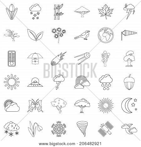 Meteorology icons set. Outline style of 36 meteorology vector icons for web isolated on white background