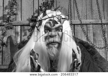 Zeus god or jupiter with magnifier. Mythology ancient Greece emotions