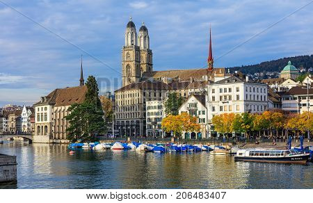 Zurich, Switzerland - 28 September, 2017: buildings of the city of Zurich along the Limmat river. Zurich is the largest city in Switzerland and the capital of the Swiss canton of Zurich.
