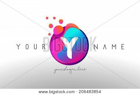 Y Dots Letter Logo With Bubbles. A Letter Design Vector With Vibtant Colored Particles.