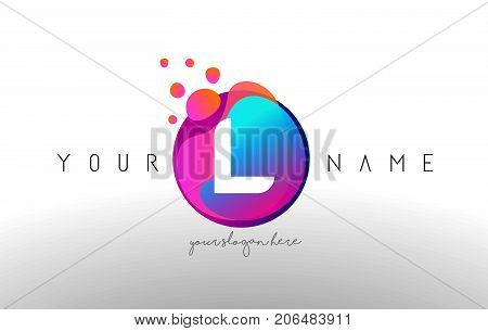 L Dots Letter Logo With Bubbles. A Letter Design Vector With Vibtant Colored Particles.