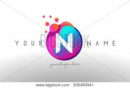 N Dots Letter Logo With Bubbles. A Letter Design Vector With Vibtant Colored Particles.