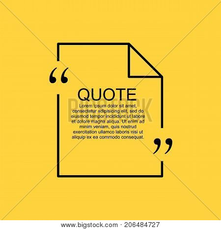 Quote text bubble. Commas, note, message and comment. Design element similar to quote. Text, commas, quote and note. Motivation and inspiration. Quote element design. Quote citation. Quote blank template.