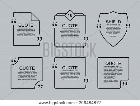 Quote blank vector template set. Commas, note, message and comment. Design element similar to quote. Text, commas, quote and note. Motivation and inspiration. Quote element design. Quote citation.