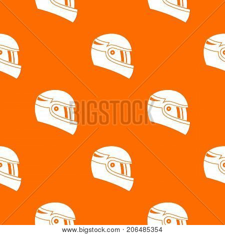 Racing helmet pattern repeat seamless in orange color for any design. Vector geometric illustration